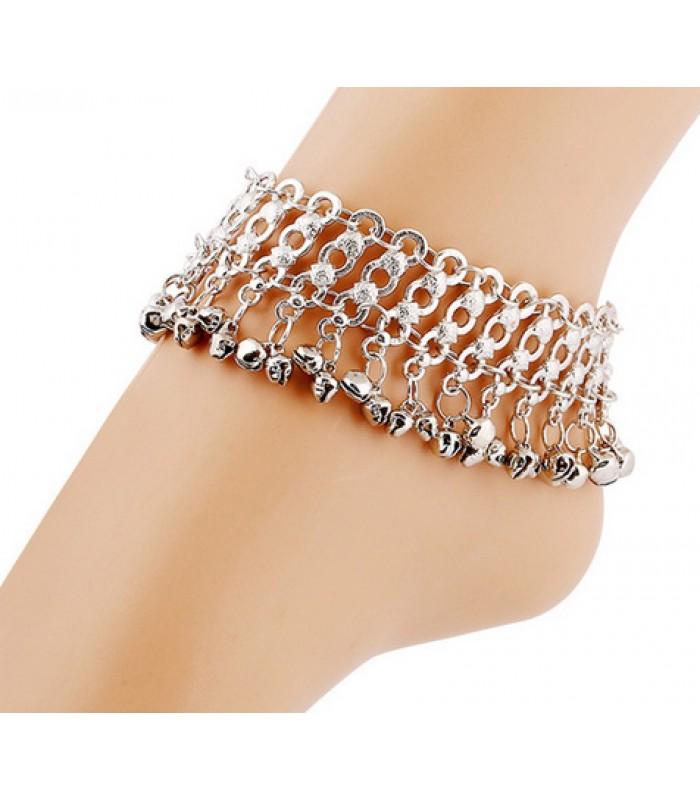 Vintage silver chain ankle bracelet for women