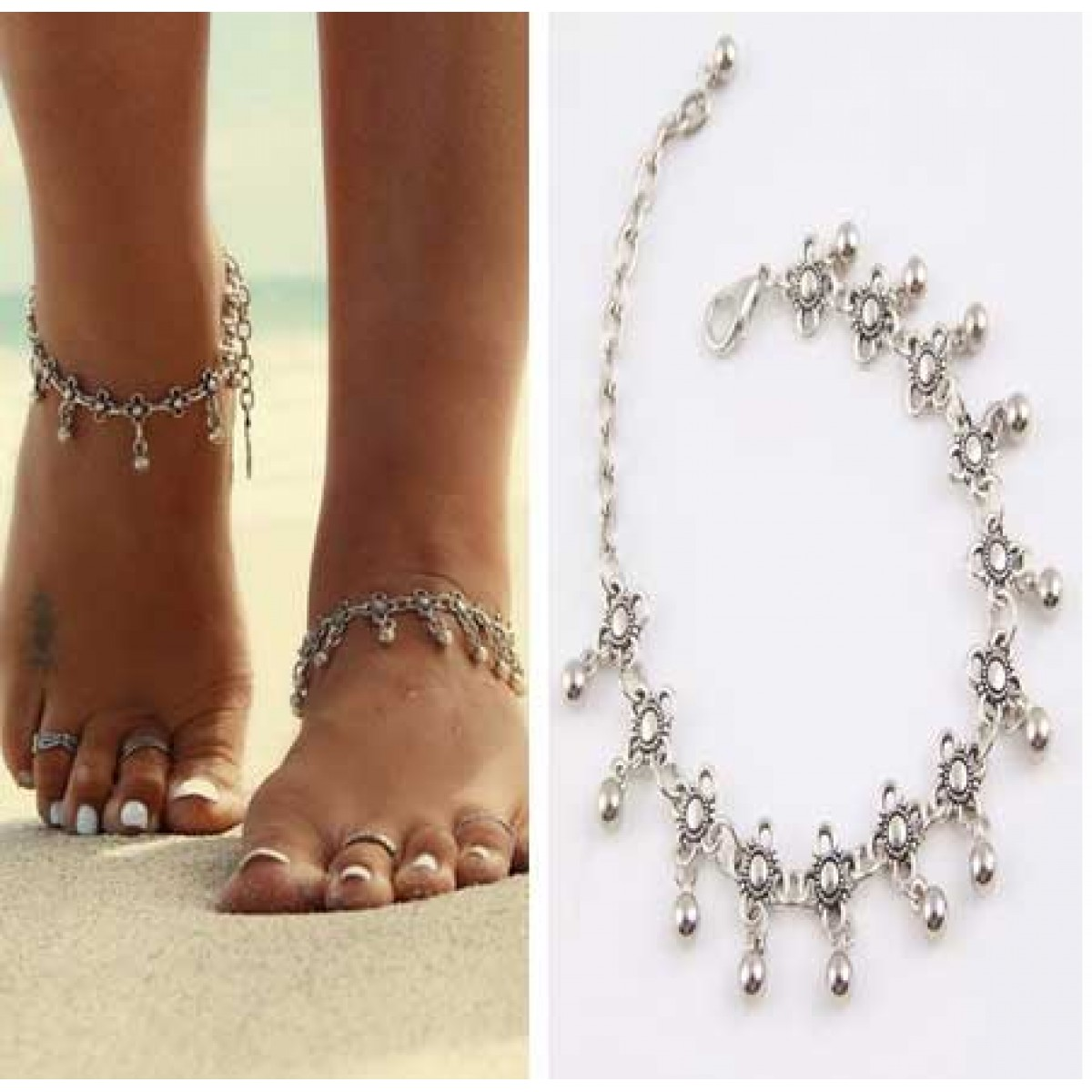 anklets bells beach pin anklet jewelry barefoot with vintage bracelet bracelets boho and ankle