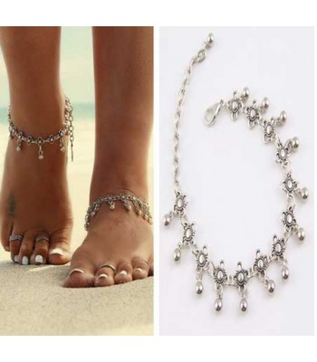Ancient Steel Flower Anklet
