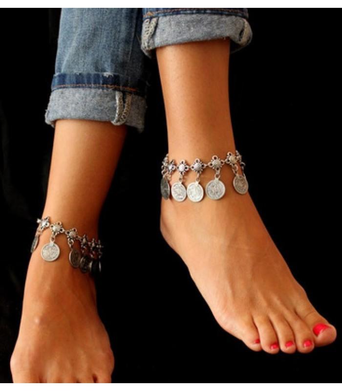 Bohemian Coin Ankle Bracelet | Silver Anklet
