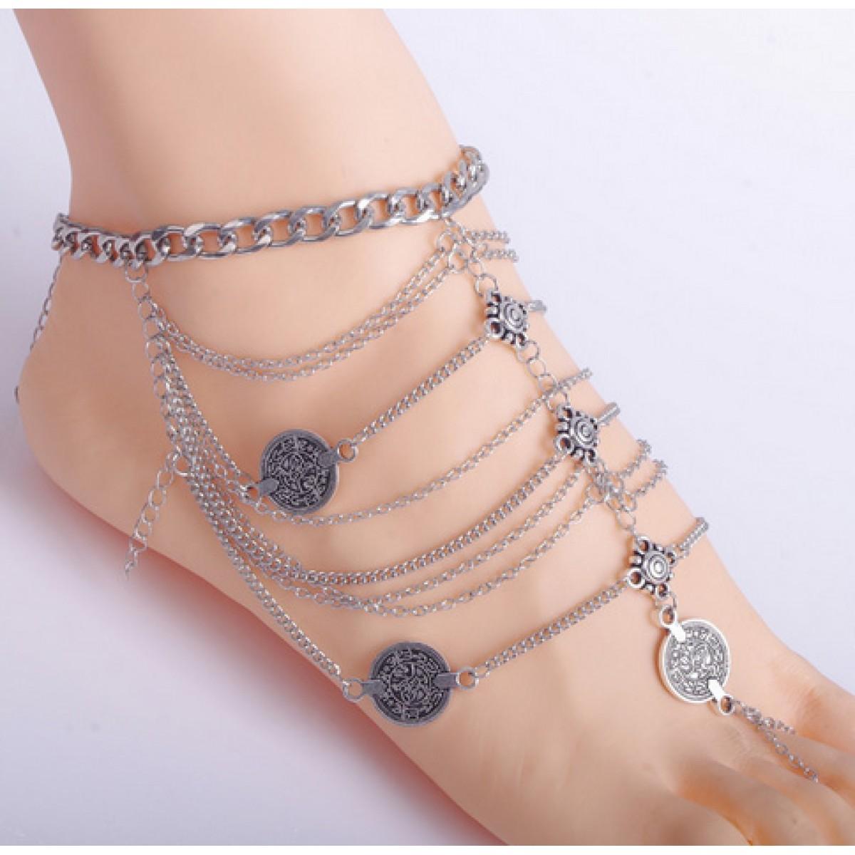Vintage Silver Coin Ankle Bracelet For Women