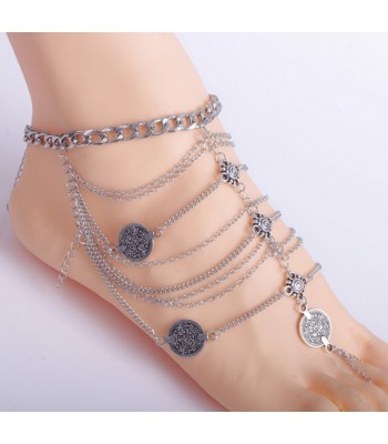 Vintage silver coin ankle bracelet for women