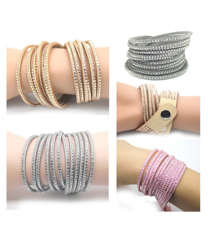 Womens 6 Layer Leather Wrap Bracelet