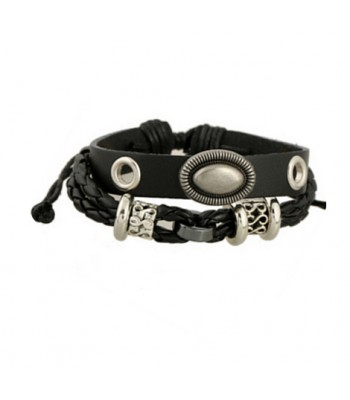 Black Leather Hip-Hop Rock Bracelet