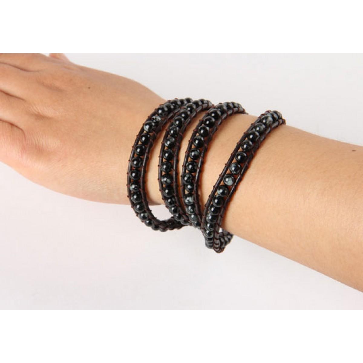 Black Bracelet Womens: Black Beaded Wrap Bracelet