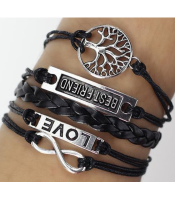 Love Leather Charm Bracelet for Girls