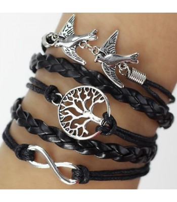Black Leather Wrap: Tree and Dove Charms