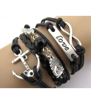 Black Leather Anchor Bracelet for Girls