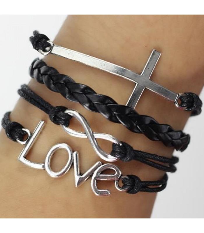 Black Cross Infinity Bracelet for Girls