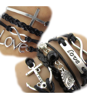 Black Leather Wrap Love Bracelet Pack