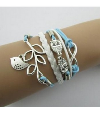 Blue Leather Wrap : Leaf, Bird, Infinity