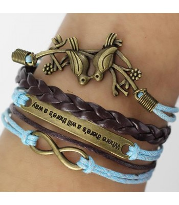 Blue Leather Braided Wrap : Love Birds with Quote