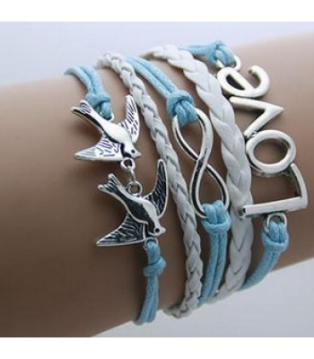 Blue Leather Wrap : Love, Infinity, Birds