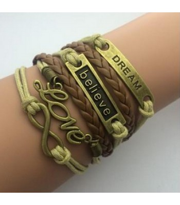 Brown Leather Wrap : Infinity, Love, Believe, Dream