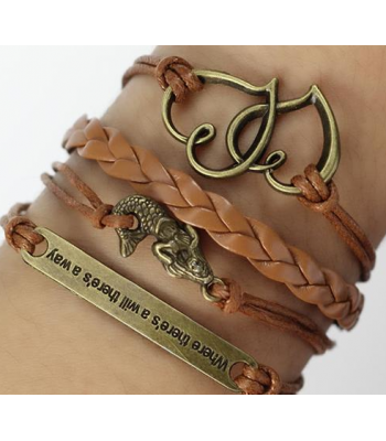 Brown Leather Braided Wrap: Heart, Mermaid with Quote
