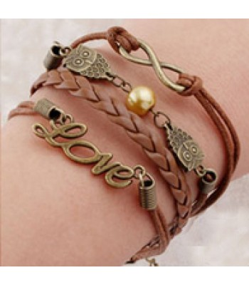 Brown Leather Braided Wrap : Love, Owls, Pearl, Infinity