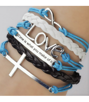 Blue Leather Wrap : Cross, Love with Quote