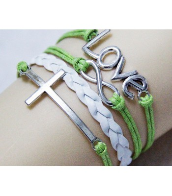 Green Leather Charm Bracelet : Cross, Love