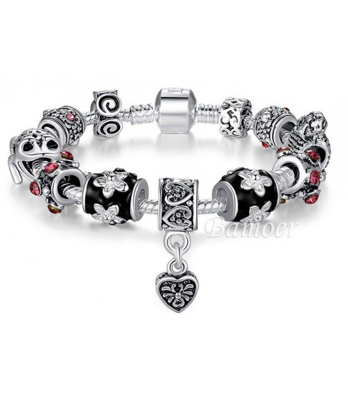 Tibetan Silver Charm Bracelet : Black