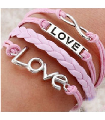 Pink Leather Wrap : Double the Love, Infinity