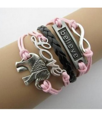 Pink Leather Wrap : Infinity, Love, Believe, Elephant
