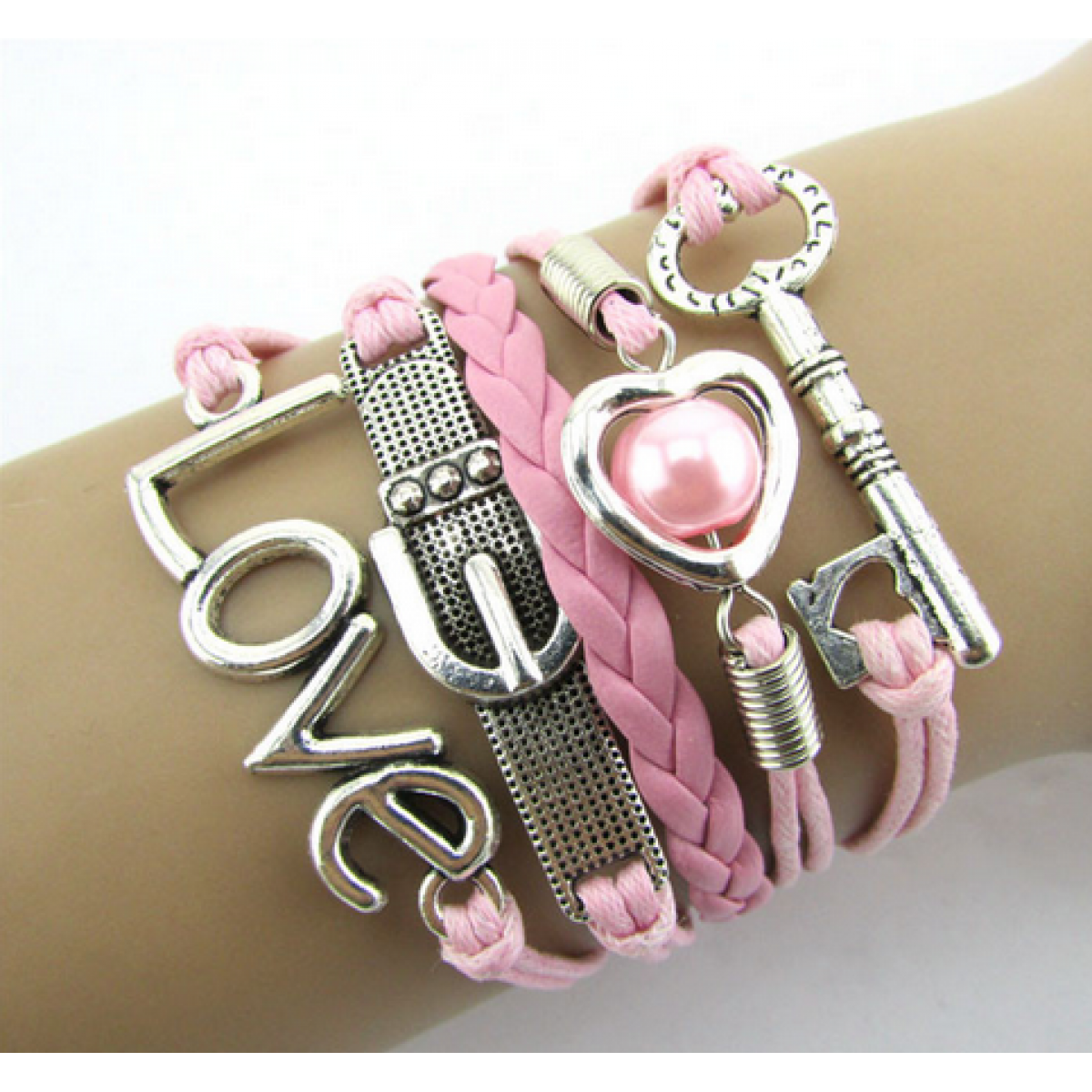 Pink Leather Love Belt Bracelet Key And Love From