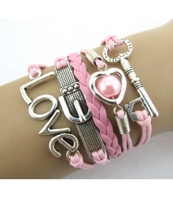 Pink Leather Love Belt  : Key and Love