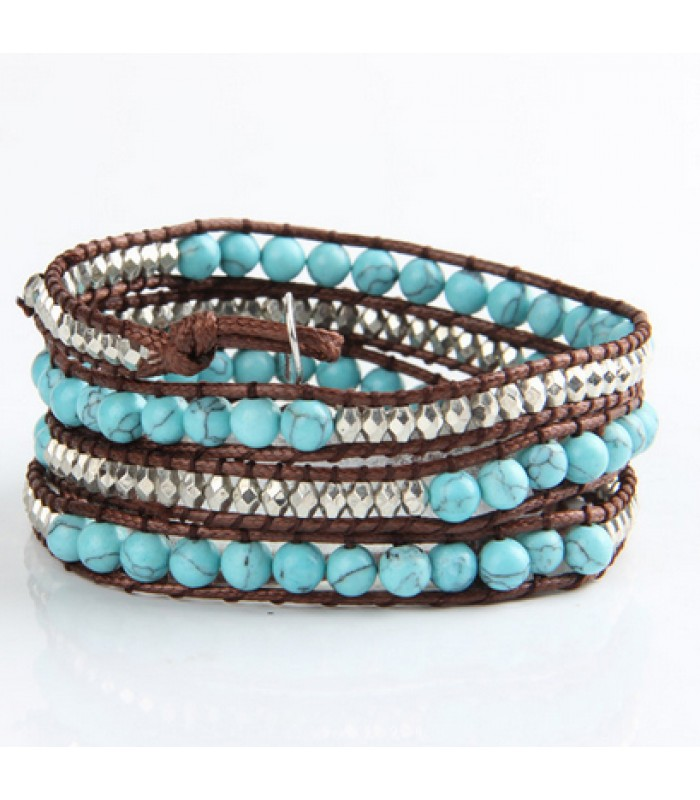 Turquoise Glass Bead Bracelets for Ladies