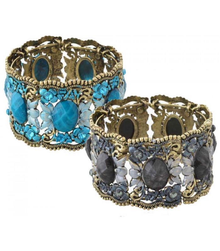 Vintage Cuff Oval Stone Bracelet