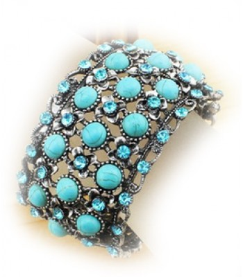 Vintage Turquoise Oval Cuff Bangle