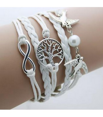 White Leather Wrap : Birds, Tree, Infinity
