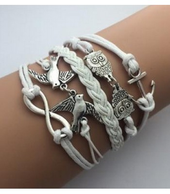 Owl Bracelet in White Leather
