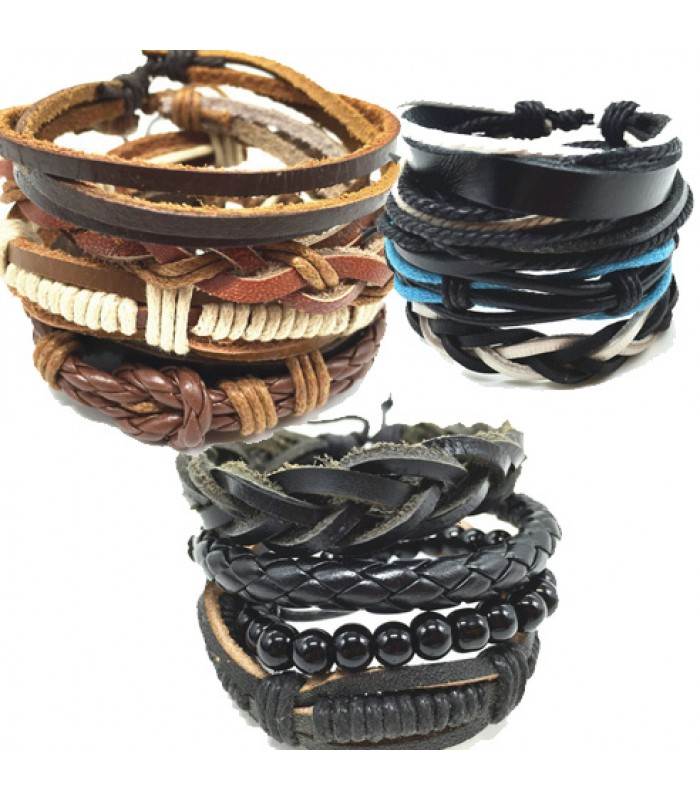 Leather Punk Wrap Bracelet for Men