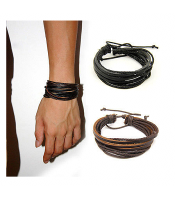 Leather Surfer Wrap Bracelet