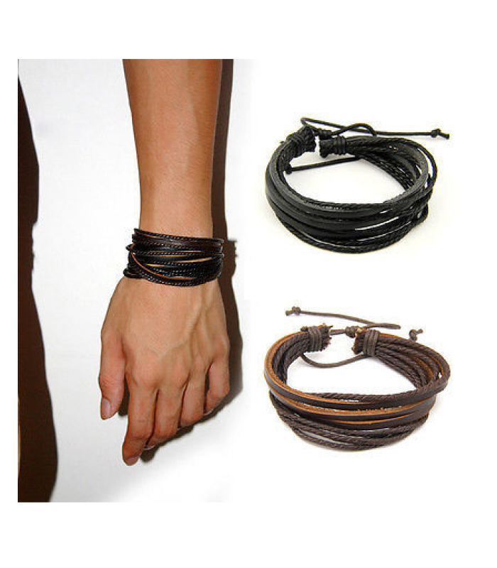 Unisex Mens Leather Surfer Wrap Bracelet for Men