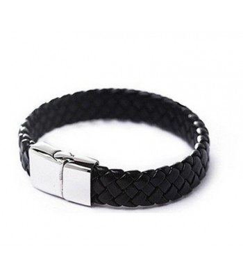 Mens Black Leather Snake Bracelet for Boys