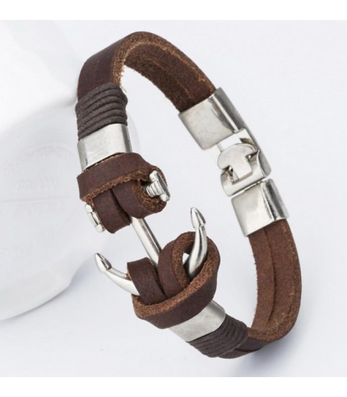 Brown Leather Anchor Bracelet for Men