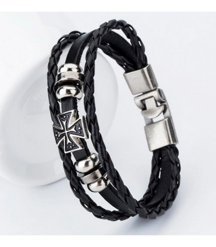 Mens Black Leather Cross Bracelet for Men