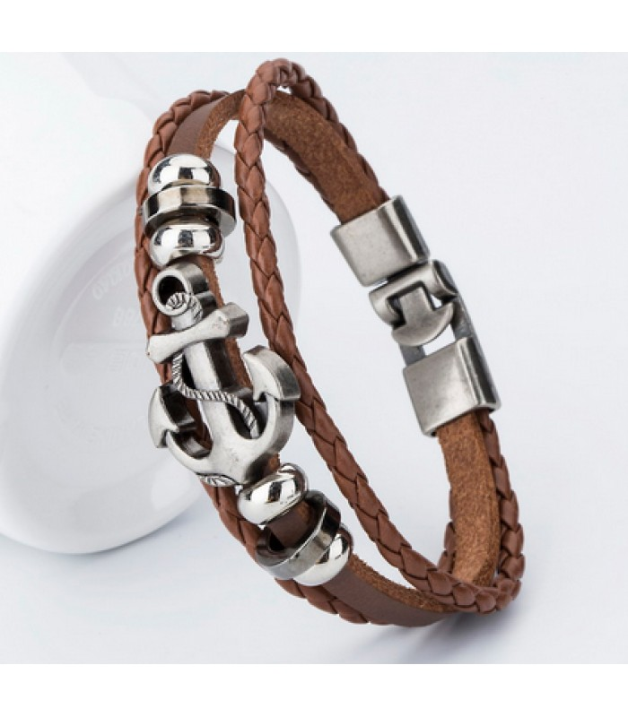 Bracelets for Men : Brown Leather Anchor Bracelet No2