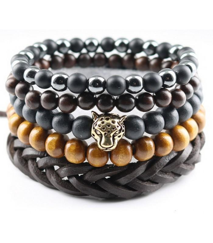 Beaded Brown Lion Bracelet for Men