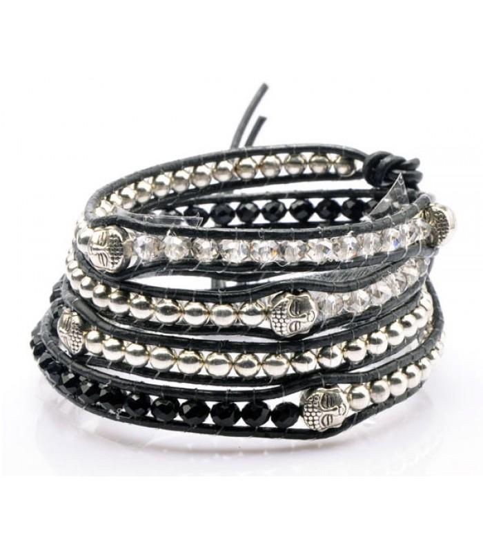 Black Budda Wrap Bracelet for Women