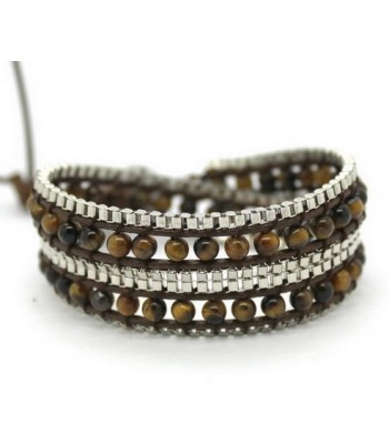 Brown Beaded Wrap Bracelet