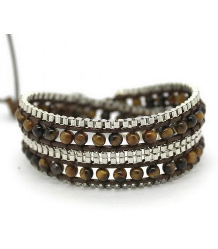 Brown Beaded Wrap Bracelet