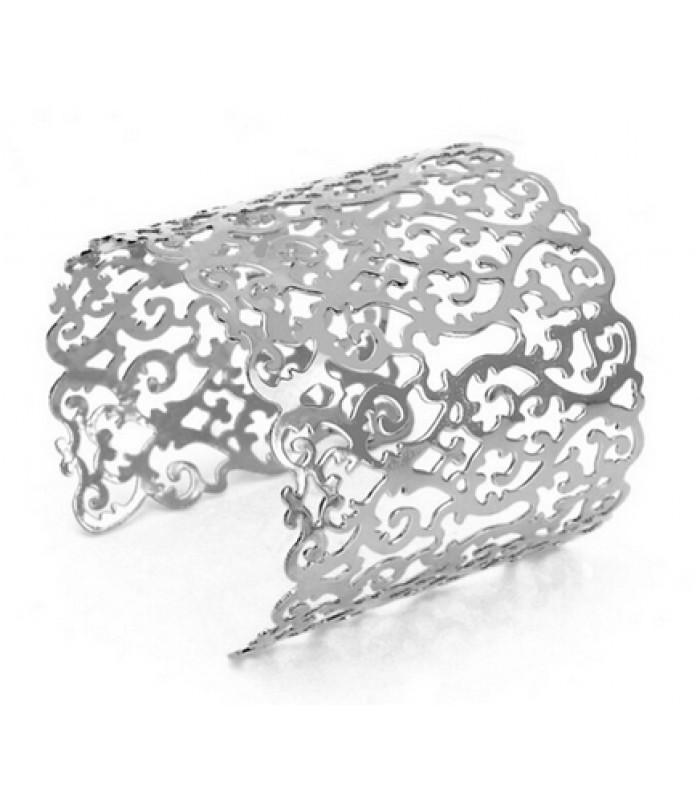 Womens Damask Style Silver Bracelet