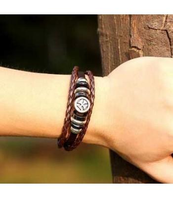 Leather Circle Cross Bracelet