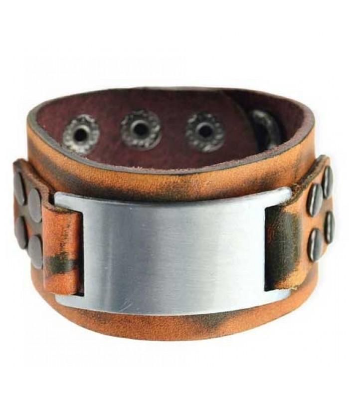 Mens Punk Leather Buckle Bracelet