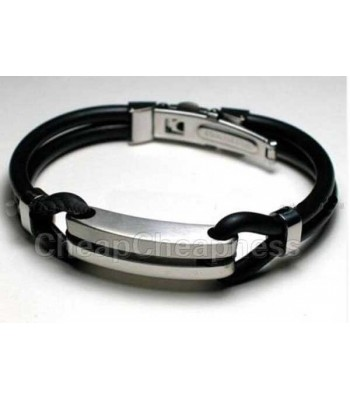 Mens Rubber and Steel Bracelet for Urban Men