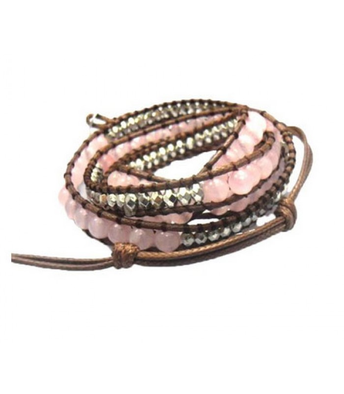 Pink Glass Wrap Bracelet