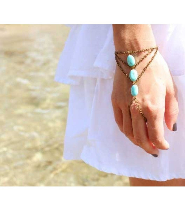 Aqua Beaded Bracelet Ring Chain for Women