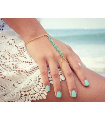 Aqua Bead Chain Ring for Women